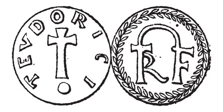 Coin Currency, during the Merovingian Dynasty, vintage engraved illustration. Dictionary of Words and Things - Larive and Fleury - 1895