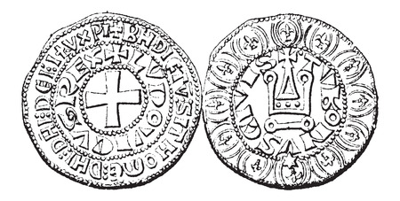 ix: Coin Currency, during the rule of Louis IX of France, vintage engraved illustration. Dictionary of Words and Things - Larive and Fleury - 1895