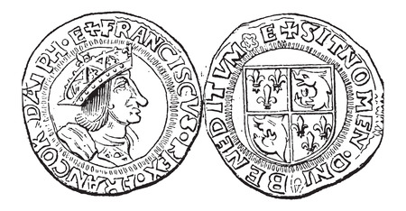 purchasing power: Coin Currency, Francis I of France, vintage engraved illustration. Dictionary of Words and Things - Larive and Fleury - 1895