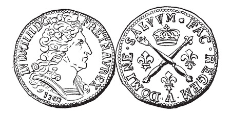 Coin Currency, during the rule of Louis XIV of France, vintage engraved illustration. Dictionary of Words and Things - Larive and Fleury - 1895