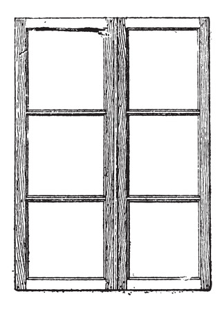 old wooden door: Muntin, shown are muntins separating and holding the glass panes of a window, vintage engraved illustration. Dictionary of Words and Things - Larive and Fleury - 1895