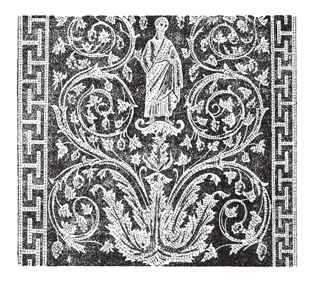 assemblage: Mosaic, in the Mausoleum of Galla Placidia in Ravenna, Italy, during the 5th century, showing a human figure, vines and lines, vintage engraved illustration. Dictionary of Words and Things - Larive and Fleury - 1895