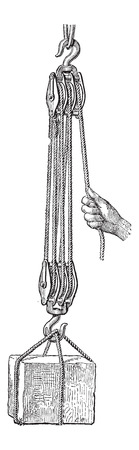 threefold: Pulley, shown is a set of pulleys arranged in a threefold purchase tackle, vintage engraved illustration. Dictionary of Words and Things - Larive and Fleury - 1895