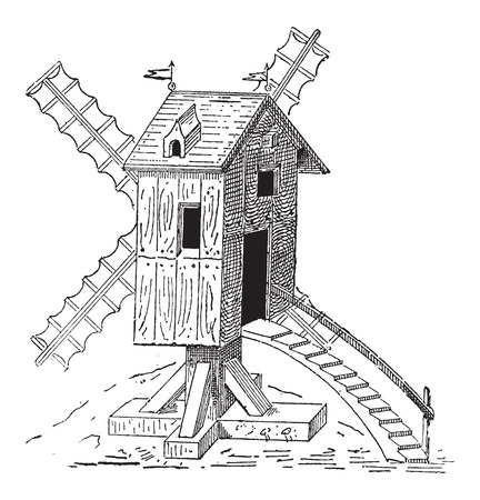 gristmill: Wooden Mill, during the 16th Century, vintage engraved illustration. Dictionary of Words and Things - Larive and Fleury - 1895 Illustration