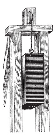 Pile Driver, vintage engraved illustration. Dictionary of Words and Things - Larive and Fleury - 1895