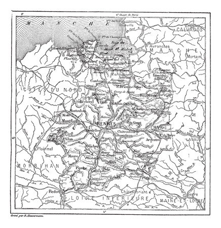 Old engraved illustration of map of Ille-et-Vilaine. Dictionary of words and things - Larive and Fleury ? 1895