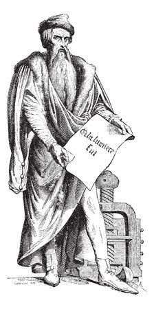 ヨハネス ・ Gensfleisch ツア積んだツム David ハザードによってグーテンベルクのブロンズ像の古い刻まれたイラスト。これが、フランスのストラスブ