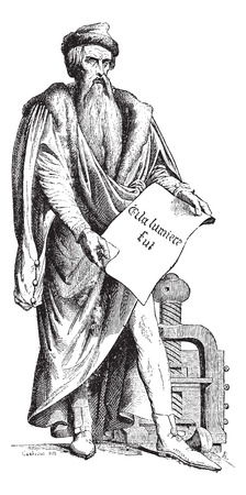 laden: Old engraved illustration of Johannes Gensfleisch zur Laden zum Gutenberg bronze statue by David Hazard. Which was opened on June 24, 1840 in Strasbourg, France.  Dictionary of words and things - Larive and Fleury ? 1895