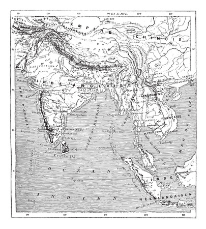 indochina: Old engraved illustration of map of India and Indochina. Dictionary of words and things - Larive and Fleury ? 1895