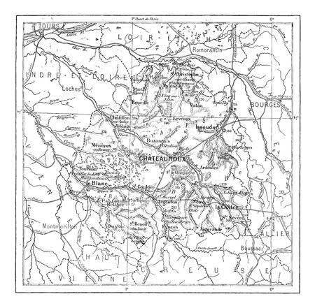 blanc: Old engraved illustration of map of Department of Indre. Dictionary of words and things - Larive and Fleury ? 1895