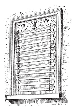 jalousie: Jalousie window, vintage engraved illustration. Dictionary of words and things - Larive and Fleury - 1895. Illustration