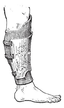 human leg: Pad (armor) on human leg, vintage engraved illustration. Dictionary of words and things - Larive and Fleury - 1895. Illustration