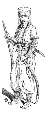 infantry: Janissary, vintage engraved illustration. Dictionary of words and things - Larive and Fleury - 1895. Illustration