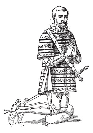 A Gambeson or aketon or padded jack or arming doublet, vintage engraved illustration. Dictionary of words and things - Larive and Fleury - 1895.