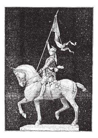 army girl: Joan of Arc, nicknamed The Maid of Orleans, vintage engraved illustration. Dictionary of words and things - Larive and Fleury - 1895.
