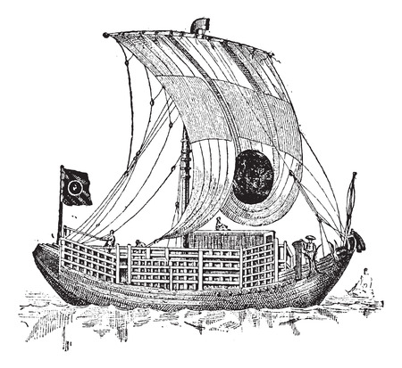 Chinese junk, an ancient sailing vessel, vintage engraved illustration. Dictionary of words and things - Larive and Fleury - 1895. Vector