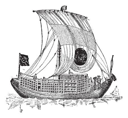 sailing vessel: Junco chino, un velero antiguo, cosecha ilustraci�n grabada. Diccionario de palabras y las cosas - Larive y Fleury - 1895. Vectores