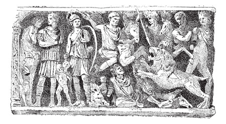 Bas-relief of a sarcophagus Jovin reims, vintage engraved illustration. Dictionary of words and things - Larive and Fleury - 1895. Illusztráció