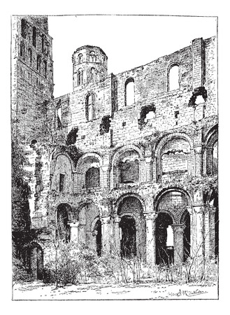 abbey: Ruins of the Abbey of Jumieges, vintage engraved illustration. Dictionary of words and things - Larive and Fleury - 1895.