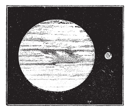 compared: Jupiter and Earth, dimensions compared, vintage engraved illustration. Dictionary of words and things - Larive and Fleury - 1895.