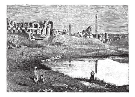 obelisk: Karnak (Egypt) ruins of the great temple and obelisk, vintage engraved illustration. Dictionary of words and things - Larive and Fleury - 1895.
