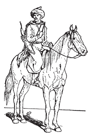 Kalmuck or Kalmyk archer on horse, vintage engraved illustration. Dictionary of words and things - Larive and Fleury - 1895.