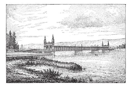 alsatian: Kehl bridge, vintage engraved illustration. Dictionary of words and things - Larive and Fleury - 1895.
