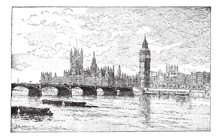 houses of parliament   london: Westminster Bridge and the Houses of Parliament, London, England, vintage engraved illustration. Dictionary of words and things - Larive and Fleury - 1895.