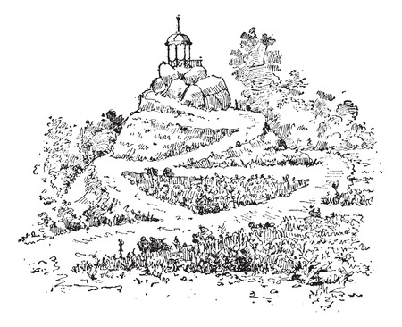 Maze in a garden, vintage engraved illustration. Dictionary of words and things - Larive and Fleury - 1895.
