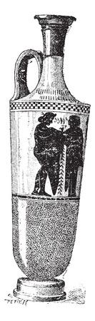 Vaso lacrimazione, vintage illustrazione inciso. Dizionario di parole e cose - Larive e Fleury - 1895.