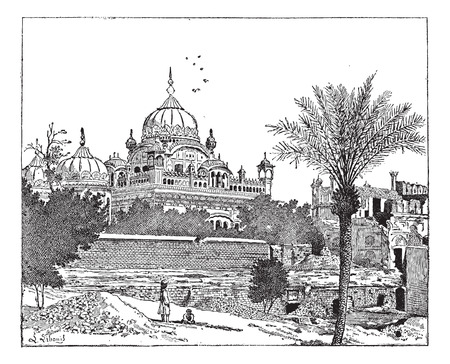 samadhi: Mausoleum of Ranjit Singh, Lahore, Pakistan, vintage engraved illustration. Dictionary of words and things - Larive and Fleury - 1895.