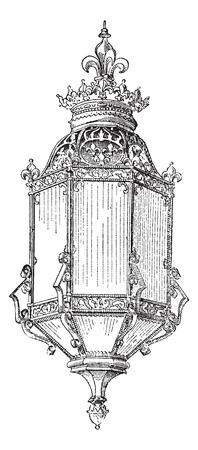 etchings: Lantern, vintage engraved illustration. Dictionary of words and things - Larive and Fleury - 1895.