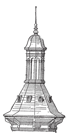 steeples: Skylight of  Church St-Eustache in Paris, vintage engraved illustration. Dictionary of words and things - Larive and Fleury - 1895.