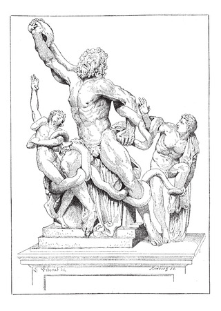Laocoon and his sons, vintage engraved illustration. Dictionary of words and things - Larive and Fleury - 1895.