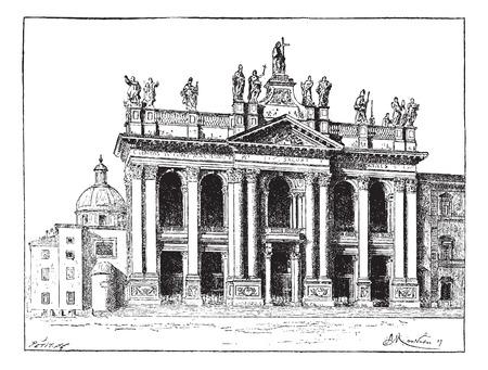 바티칸 시티 세인트 존 라테 란 대성당은, 빈티지 새겨진 된 그림. Larive 및 플 뢰리 - - 1,895 단어와 사물의 사전 일러스트