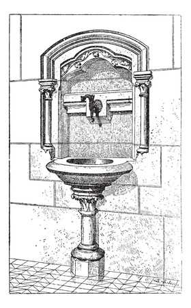 notre: Sink at the Notre Dame Cathedral in Paris, France, vintage engraved illustration. Dictionary of Words and Things - Larive and Fleury - 1895 Illustration