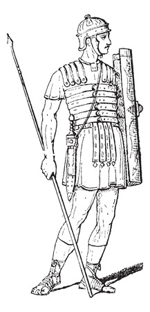 legionary: Roman Legionary, vintage engraved illustration. Dictionary of Words and Things - Larive and Fleury - 1895