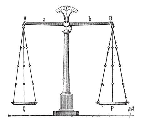 apalancamiento: Equilibrio, ilustración de la vendimia grabado. Diccionario de palabras y las cosas - Larive y Fleury - 1895 Vectores