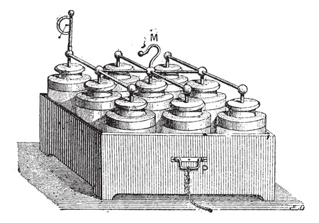 storage device: Electric Battery made up of Leyden Jars, vintage engraved illustration. Dictionary of Words and Things - Larive and Fleury - 1895 Illustration