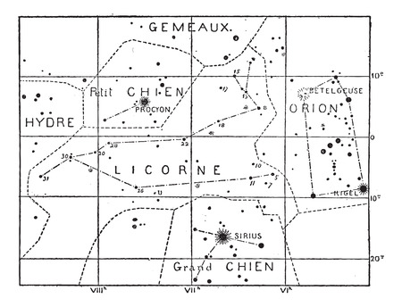 Monoceros or Unicorn Constellation, vintage engraved illustration. Dictionary of Words and Things - Larive and Fleury - 1895 Illusztráció