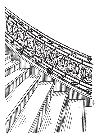sediment: Stone Staircase made of Silt, vintage engraved illustration. Dictionary of Words and Things - Larive and Fleury - 1895