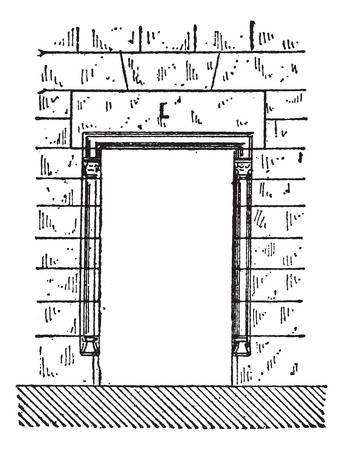 architrave: Lintel (marked L), vintage engraved illustration. Dictionary of Words and Things - Larive and Fleury - 1895