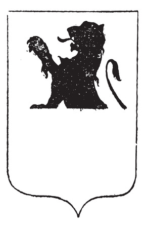 white coat: Half-Lion in Coat of Arms, vintage engraved illustration. Dictionary of Words and Things - Larive and Fleury - 1895