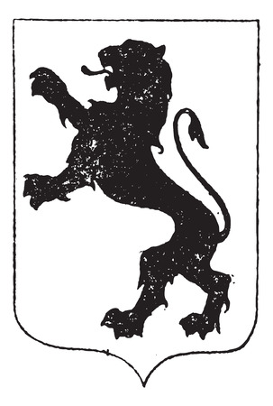 Standing Lion in Coat of Arms, vintage engraved illustration. Dictionary of Words and Things - Larive and Fleury - 1895