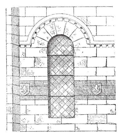 Apse of the Church in Franchesse in Auvergne, France, vintage engraved illustration. Dictionary of Words and Things - Larive and Fleury - 1895