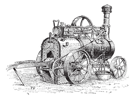 Agricultural Traction Engine, shown being used to burn straw, vintage engraved illustration. Dictionary of Words and Things - Larive and Fleury - 1895