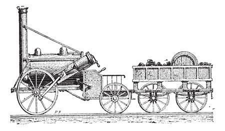 スティーブンソンのロケット、ヴィンテージの図を刻まれています。辞書の言葉や物事 - Larive 氏 - 1895
