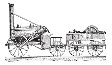 traction engine: Stephensons Rocket, vintage engraved illustration. Dictionary of Words and Things - Larive and Fleury - 1895