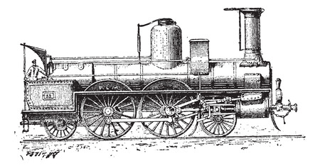 adhesion: High-speed Locomotive, vintage engraved illustration. Dictionary of Words and Things - Larive and Fleury - 1895