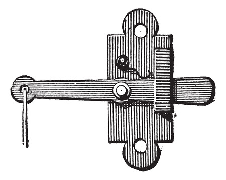 crossbar: Latch, vintage engraved illustration. Dictionary of Words and Things - Larive and Fleury - 1895 Illustration